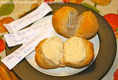 Interesting...like fortune cookies, but dinner rolls...thankful thanksgiving honey rolls