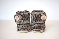 Nordic Knit Leather Soled Fleece Baby Booties. Children Fashion. Toddler Shoes. Soft Soled. Kids Boots. Brown, and White Print.. $30.00, via Etsy.