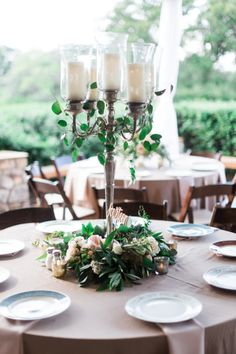 Vintage Chic Wedding at The Vineyards at Chappel Lodge Romantic garden centerpiece: www. Candelabra Wedding Centerpieces, Flower Centerpieces, Flower Arrangements, Wedding Decorations, Tall Centerpiece, Wedding Favors, Centrepieces, Floral Arrangement, Wedding Ideas