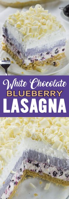 White chocolate blueberry lasagna is a no-bake blueberry layered dessert sure to delight everyone who tries it! Delicious layered dessert that your family will love! # no bake Desserts White Chocolate Blueberry Lasagna Easy Chocolate Desserts, Layered Desserts, No Bake Desserts, Easy Desserts, Blueberry Chocolate, Cake Chocolate, Baking Chocolate, Chocolate Coffee, White Chocolate Blueberry Lasagna Recipe