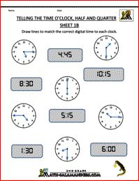 Telling the Time Worksheets - O'clock, Half and Quarter Past & To Sheet 1B