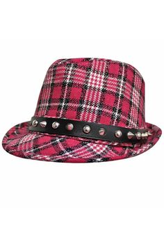1e5f33c0b62 Luxury Divas Pink Classic Plaid Print Fedora Hat With Silver Metal Spikes