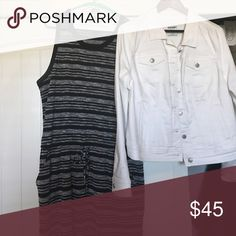 Banana Republic sleeveless dress/Jean jacket Bundle: comes with both the dress and Jean jacket.  Jacket is NWOT and the dress has only been worn once.  Dress hits just above the knee.  Dress size Large and jacket XL.  Price is firm. Banana Republic Dresses Midi