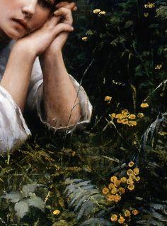 Rêverie (Détail) Daniel Ridgway Knight 1866