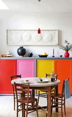 Colorful cabinets.