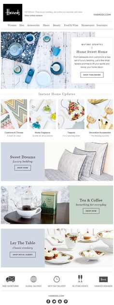 Harrods newsletter Engagement Emails, Bedding Shop, Harrods, Luxury Bedding, Wine Recipes, Sweet Home, Tableware, Classic, Accessories