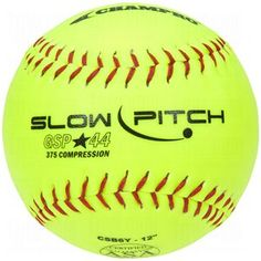 Champro Game ASA Slow Ptich .44 COR, 375 Compression, Poly Synthetic Cover, Red Stiches (Optic Yellow, 12-Inch) - http://www.closeoutball.com/softball-closeout-sale-discount-free-shipping/champro-game-asa-slow-ptich-44-cor-375-compression-poly-synthetic-cover-red-stiches-optic-yellow-12-inch/