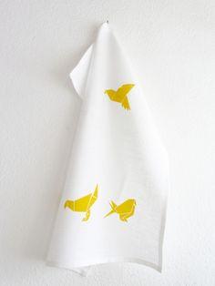Geschirrtücher - Geschirrtuch »Origami-Vögel« aus Leinen