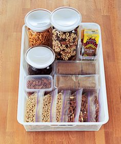 pantry snack station: Nuts, pre-portioned cereal bags, dried fruit or fruit leathers, graham crackers.