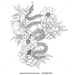 Snakes and flowers. Tattoo art, coloring books. Hand drawn vintage vector illustration Isolated on white background. - stock vector