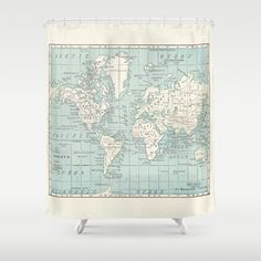 The World Map Shower Curtain Because yes you can homeschool in