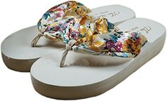 65993f4e0f2713 Bettyhome Women Bohemian Style Satin Comfortable Thongs Casual Wedges  Sandals Beach Flip Flops Slippers 8 BM USEUR 39 white -- Read more reviews  of the ...