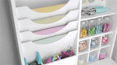 """Now crafters with very little space in their home can have a work station to organize their supplies and be creative. The craft table folds out to 23 ½"""" wide..."""