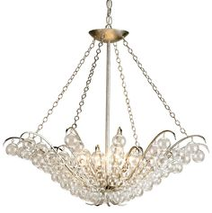 """CURREY & COMPANY - Quantum Chandelier - Blown glass balls make a classic pendant form something special. A delicate wrought iron frame is finished with """"Contemporary Silver Leaf? that enhances the glow of the shimmering glass baubles."""