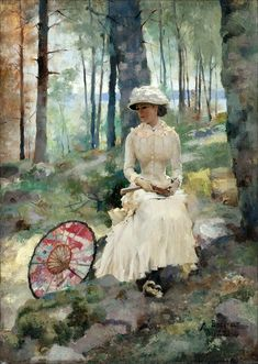 """""""Under the Birches"""" Albert Edelfelt - 1881 This is one of my favorite Edelfelt paintings."""