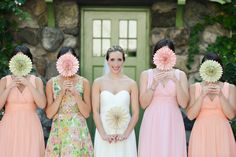 Such a fun lineup of lovelies | Willowdale Estate Wedding from Molly Anne Photography  Read more - http://www.stylemepretty.com/massachusetts-weddings/2013/09/20/willowdale-estate-wedding-from-molly-anne-photography/