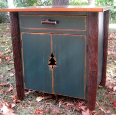 """Rustic Hickory Night Stand or End Table with pine tree """"shutter"""" style doors."""