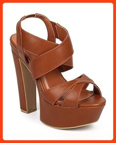 Wild Diva DD88 Women Leatherette Peep Toe Criss Cross Slingback Platform Sandal - Cognac (Size: 8.5)