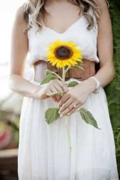 white dress, brown belt, sunflower. perfect combo