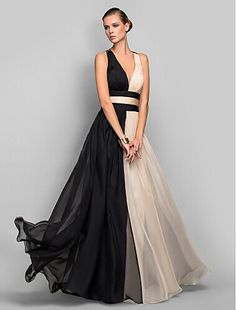 A-line/Princess V-neck Floor-length Chiffon Refined Evening Dress…