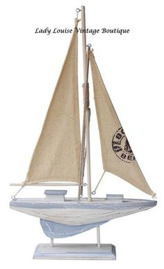 NEW Nautical Sailing Yacht BOAT Wooden SHABBY CHIC Beach White Blue, Ornament