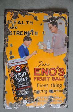 Rare Vintage ENO's Fruit Salt Ad Porcelain Enamel Signboard