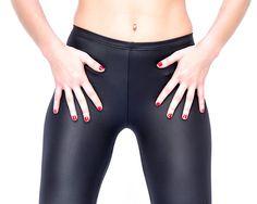 Black gloss & Metallic leggings Women High Waist by MikiBeFashion