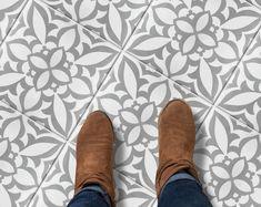 Encaustic Moroccan Tile Wall Stair Floor Self Adhesive Vinyl | Etsy Tile Decals, Wall Tiles, Vinyl Decals, Peel And Stick Floor, Peel And Stick Vinyl, Behr, Flooring For Stairs, Floor Stickers, Grey Tiles