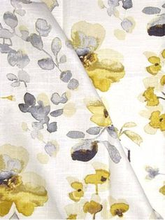 "03367 Yellow Grey - Vern Yip Collection - Up the roll watercolor floral fabric. Content; 55% Linen, 45% Cotton. Perfect for bedding, drapery or light use upholstery. Repeat H 27"" x V 25.25"". 30,000 double rubs. 54"" wide. Please note; 12 yard minimum."