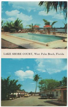 Vintage Postcard, Lake Shore Court motel in West Palm Beach, Florida, 1956, $3.50 on Etsy