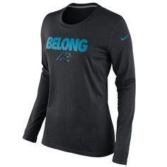 Nike Carolina Panthers Ladies Belong Local Long Sleeve T-Shirt - Black