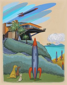 Mid Century Modern Eames Retro Limited Edition Print from Original Painting Architecture Dog Rockets