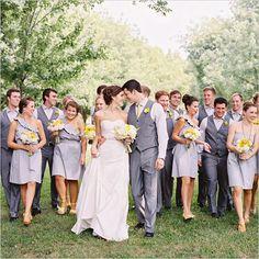 Gray + Yellow #bridalparty #wedding