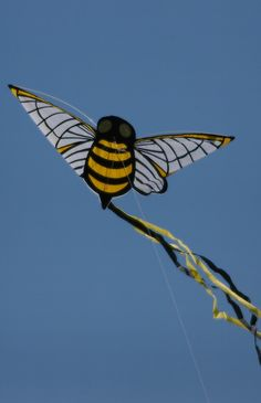 "Two crossed curved spars plus a vertical spine are the basis for this Bee kite. Not super realistic but quite an artistic statement. The black and yellow streamers match the body, keeping the design simple and elegant. T.P. (my-best-kite.com) ""Bee Kite"" Cropped from a photo by Philip Storry on Flickr."