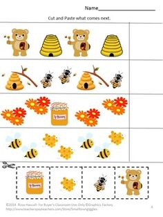 Cut and Paste:Bears Love Honey Cut and Paste Worksheets Set. .Children love Bears, real ones and pretend ones. Bears Love Honey features color matching, patterning, letter matching, number matching, shape matching, addition, subtraction, more or less, what's different, using bears, bees, and honey graphics.