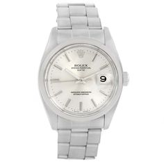 14025 Rolex Date Stainless Steel Silver Dial Vintage Mens Watch 1500 SwissWatchExpo