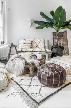 A fusion of Scandinavian and Bohemian Chic decor. Fluffy and warm by Paulina Arcklin.