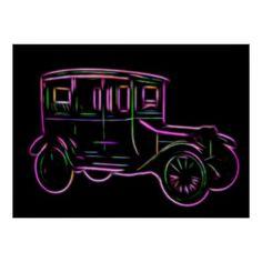 Antique Neon Vintage Car Poster - retro gifts style cyo diy special idea