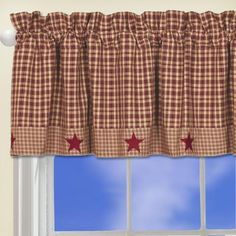 Barn Star Layered Window Valance, Primitive Country Curtain Burgundy