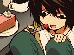 L Lawliet by Anime Chibi, Anime Naruto, Death Note デスノート, L Lawliet, Good And Evil, Cartoon Characters, Kawaii, Animation, Otaku