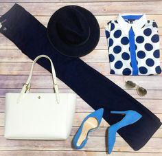 Ordit idea : wide leg pants, navy fedora hat, big polka dot button down shirt, tory burch cream tote bag, white Ray-ban full colored aviators and blue pumps.