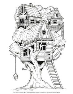 Free treehouse coloring page by Steve Turner Make your world more colorful with free printable coloring pages from italks. Our free coloring pages for adults and kids. House Colouring Pages, Coloring Pages For Grown Ups, Printable Adult Coloring Pages, Coloring Pages To Print, Coloring Book Pages, Coloring Sheets, Kids Coloring, Colorful Drawings, Art Drawings