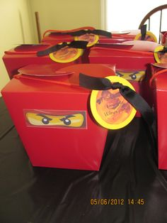 Red Lego Ninjago birthday party favor boxes