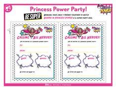 Barbie Princess Power Party Barbie Birthday, Barbie Party, Doll Party, Superhero Birthday Party, 6th Birthday Parties, Birthday Ideas, Princess Tea Party, Barbie Princess, Sparkle Party