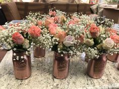 Rustic Wedding Centerpieces Beautiful suggestions to put together a really imaginative rustic chic wedding centerpieces diy Wedding idea number 9698655858 pinned on 20190330 Gold Mason Jars, Mason Jar Centerpieces, Rustic Wedding Centerpieces, Wedding Flower Arrangements, Wedding Flowers, Wedding Decorations, Rose Gold Centerpiece, Centerpiece Ideas, Mason Jar Flowers