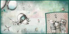 El pequeño astronauta se despide de su familia y se embarca a una nueva aventura// Ilustración de Esther Mendetz