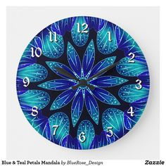 Blue & Teal Petals Mandala Large Clock Holiday Cards, Christmas Cards, Purple Teal, Blue, Large Clock, Wall Clocks, Christmas Card Holders, Keep It Cleaner, Colorful Backgrounds