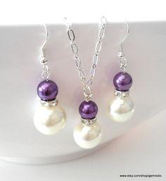 Purple bridesmaid jewelry set pearl bridesmaids by Gemnotic, €10.00