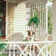 This trellis is an elegant way to get privacy for a porch, deck or even a patio. A porch trellis is also great to grow climbing plants. Pergola With Roof, Pergola Shade, Pergola Kits, Pergola Ideas, Arbor Ideas, Fence Ideas, Porch Trellis, Porch Lattice, Porch Gazebo