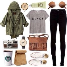 black jeans, grey shirt, white converse and green army jacket